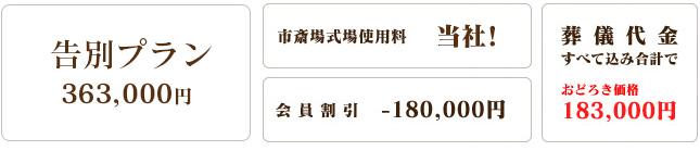 【新セレモニー会員3口利用の場合】告別プラン(320,000円)が葬儀代金すべて込み合計で140,000円